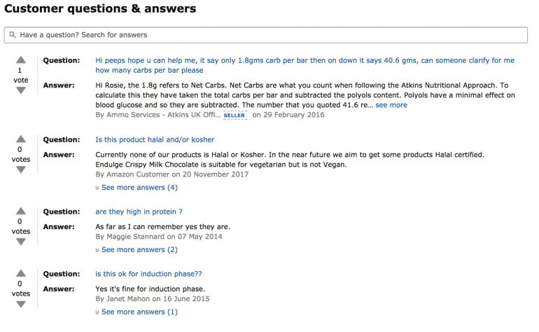 Customer questions & answers Atkins Chocolate Break Bar op Amazon
