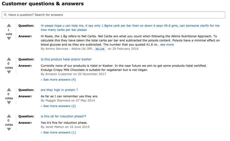 Customer questions & answers Atkins Chocolate Break Bar op Amazon