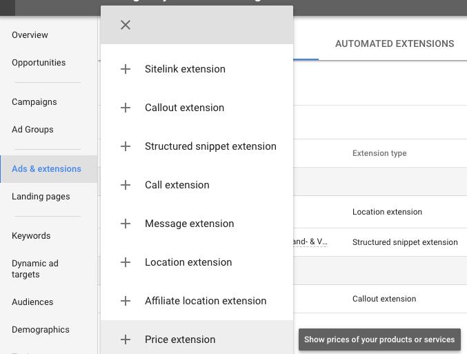navigeer in de nieuwe AdWords-interface naar Ads & Extensions > + > Price extension