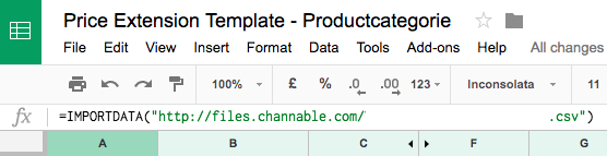 op het input-tabblad maken we gebruik van de importdata-functionaliteit om de Channable-feed