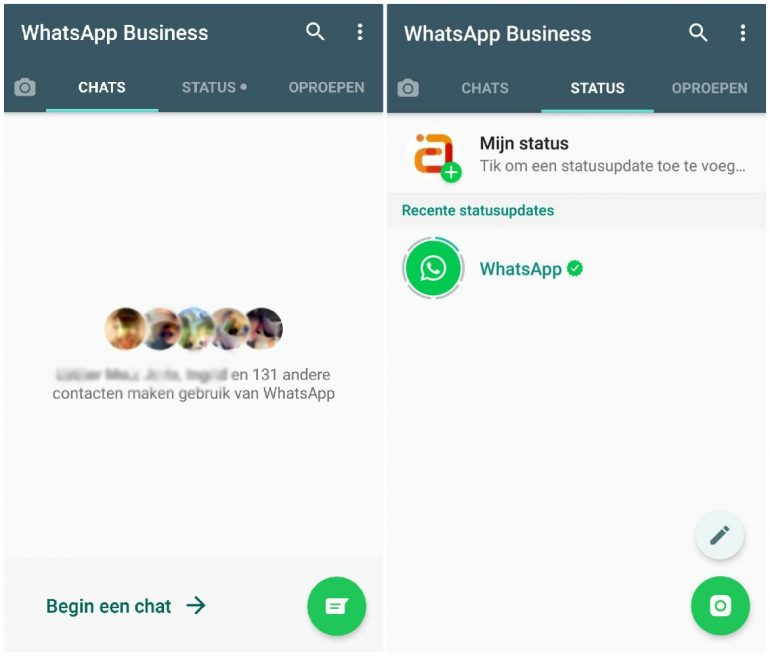 Startscherm WhatsApp for business