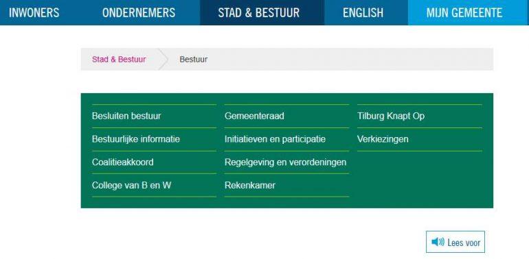 screenshot van tilburg.nl
