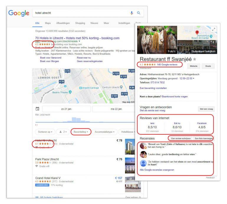 Google pagina met alle reviewmogelijkheden