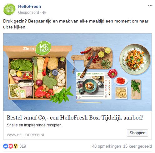 Remarketing van HelloFresh
