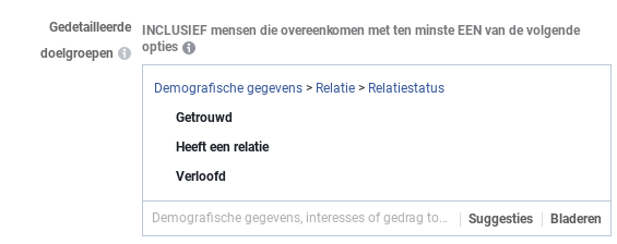 Relatiestatus Facebook adverteren