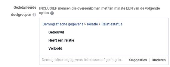 Relatiestatus Facebook adverteren
