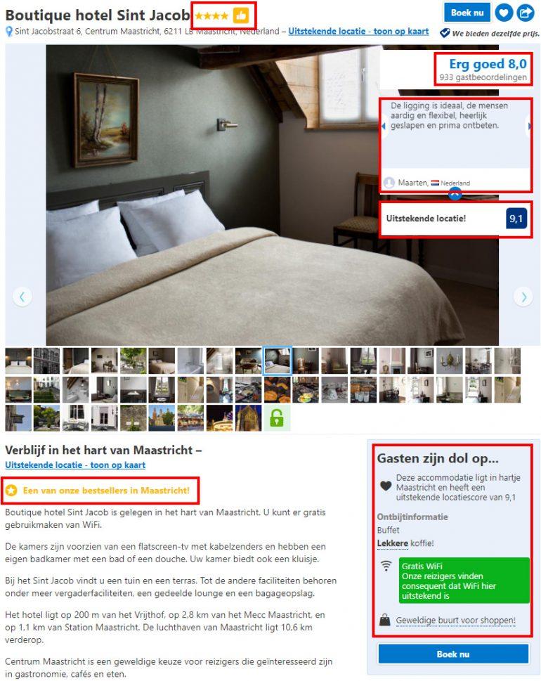 Voorbeeld van sociale bevestiging bij booking.com