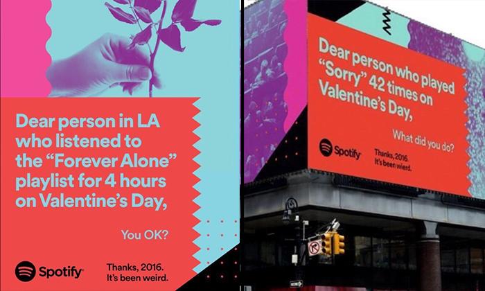 Spotify advertenties op Valentijnsdag