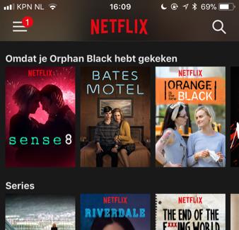 Netflix interface met aanbevelingen
