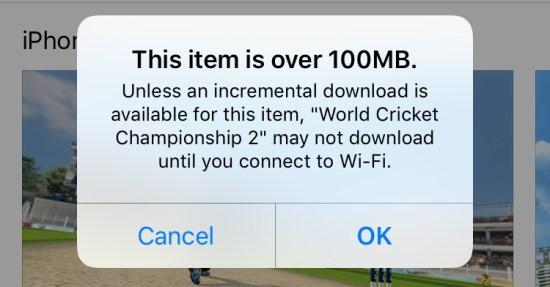 App groter dan 100 mb, melding in Apple App Store.