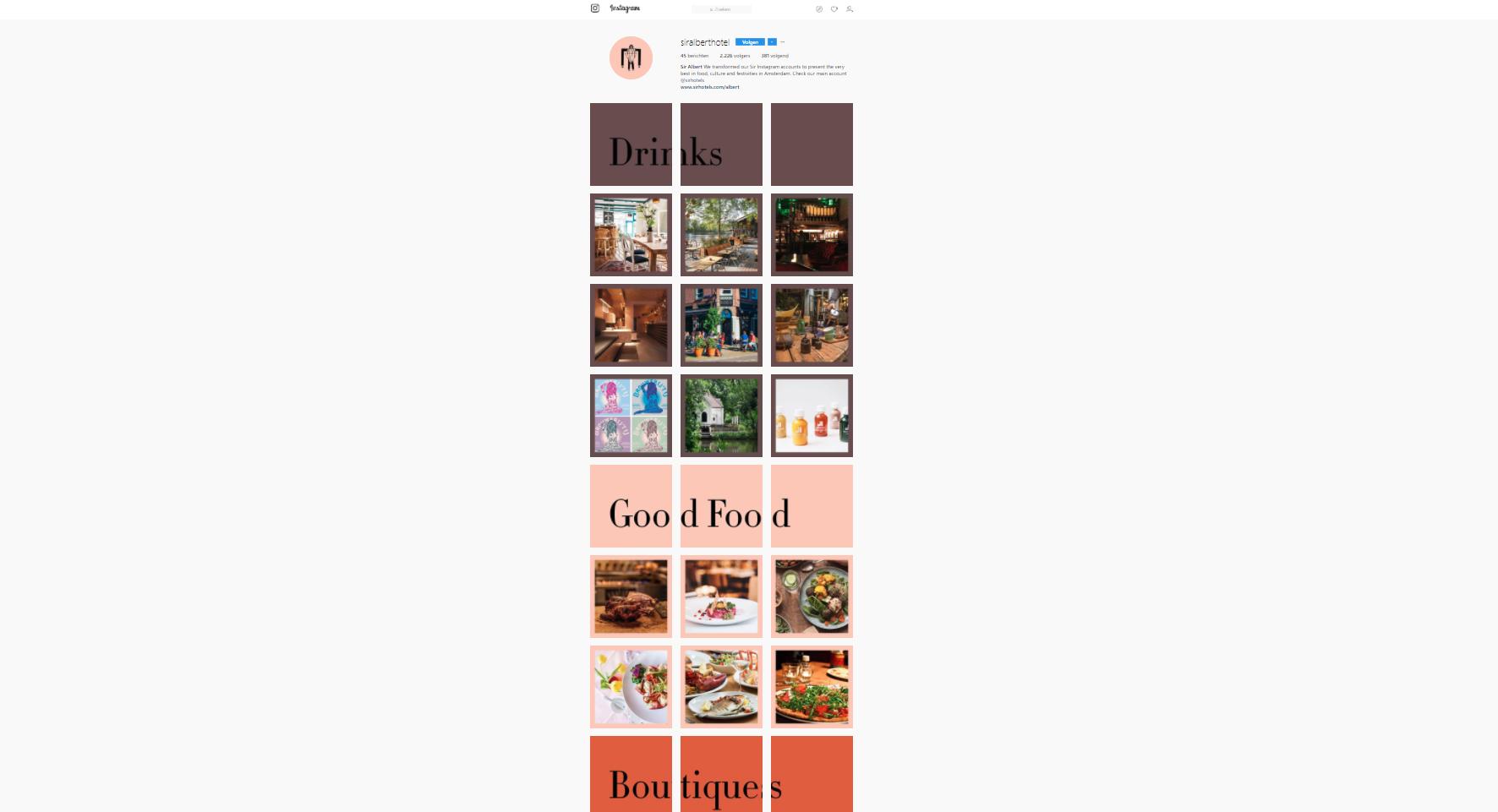 Instagram campagne sir albert hotel - Frankwatching
