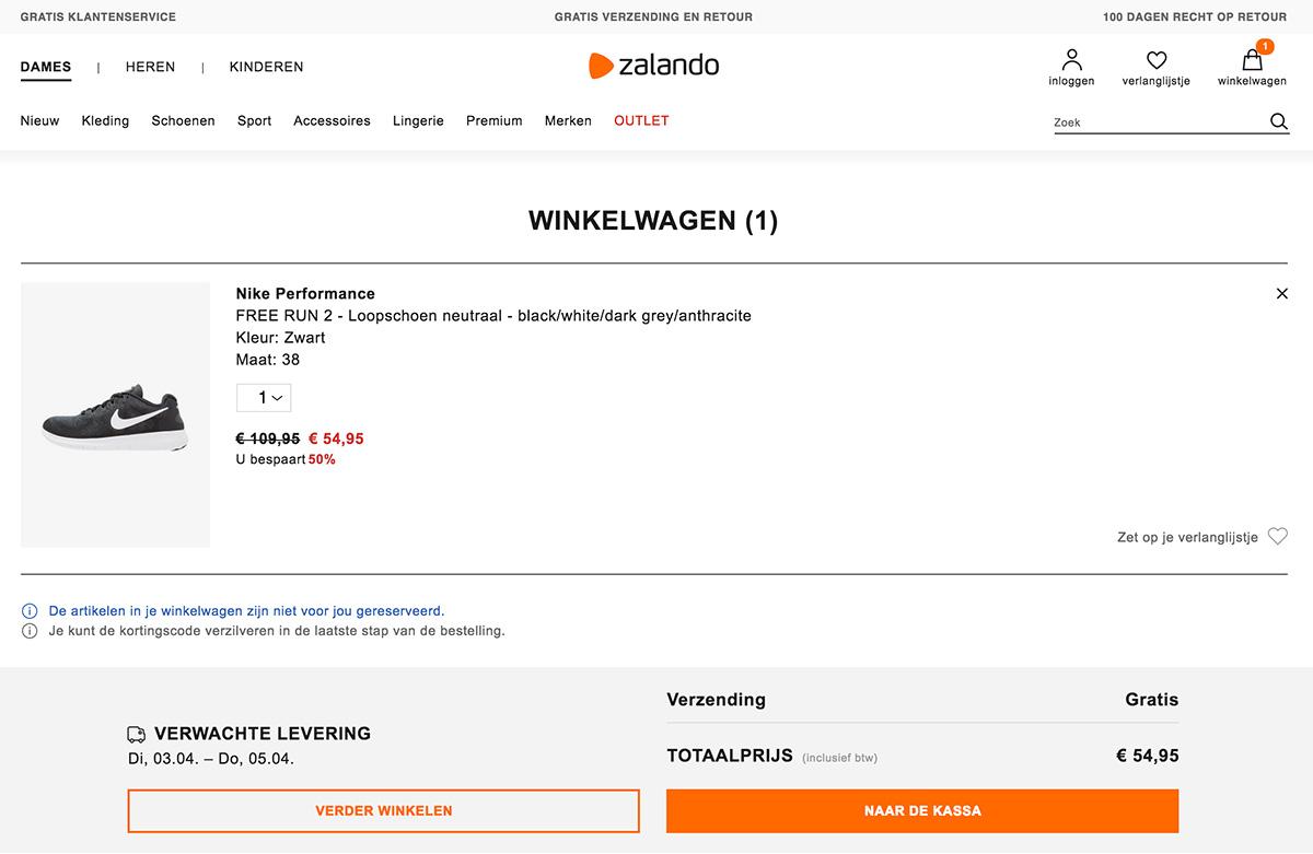 Winkelwagen BTW Zalando
