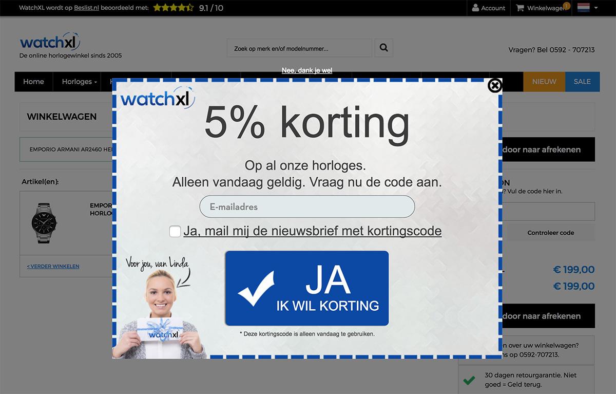 Winkelwagen Korting WatchXL