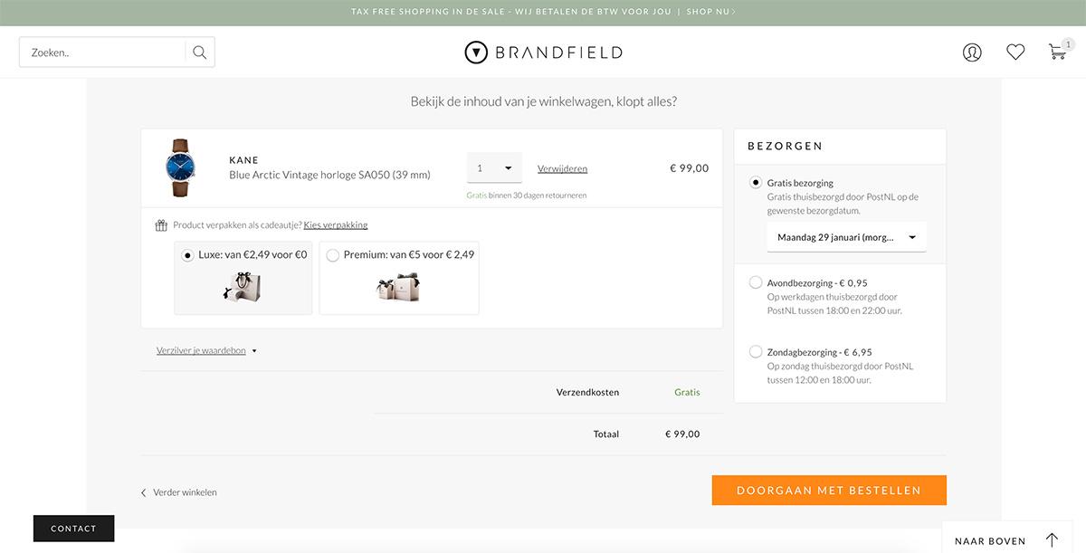 Winkelwagen Kortingscode Brandfield