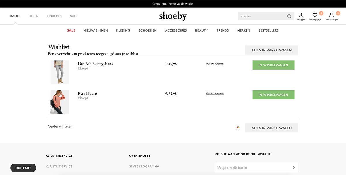 Winkelwagen Verlanglijst Shoeby