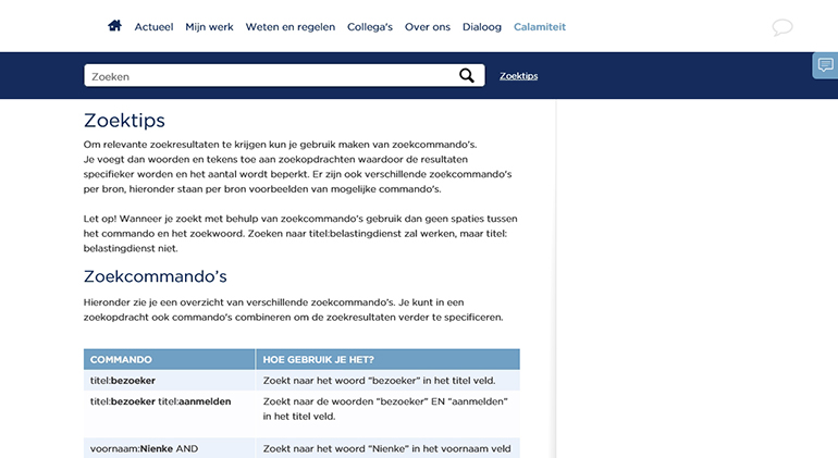 Een voorbeeld van zoektips op het intranet
