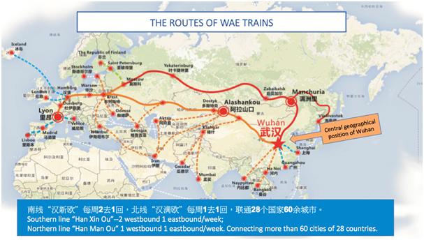 Routes van de WAE-treinen