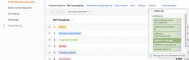 Google Analytics MCF1