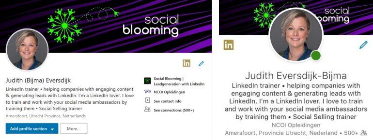 De nieuwe LinkedIn-layout voor profielen op desktop en de iPhone-app