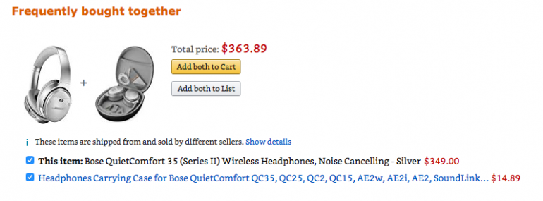 Amazon - frequently bought together cross-sell