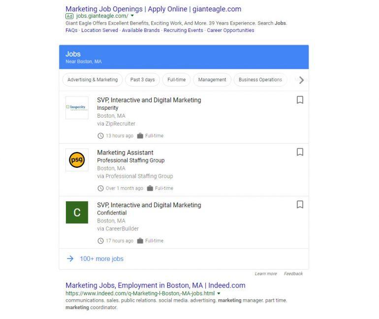 Google for Jobs overzicht