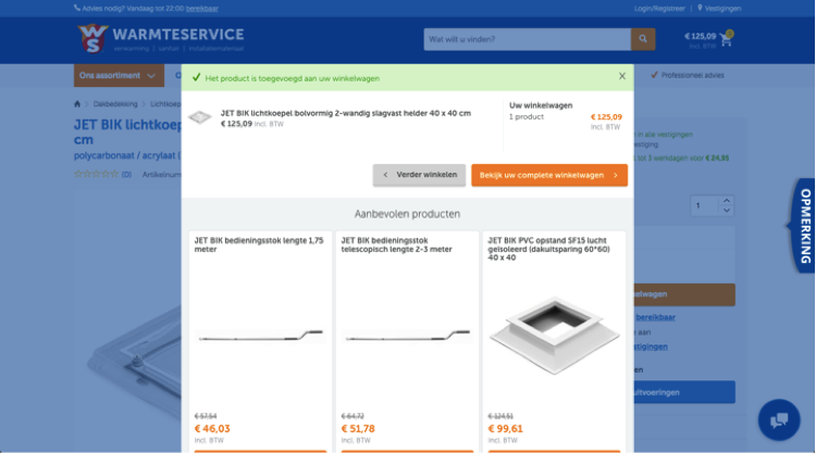 Warmteservice - cross-sell na verfijningen