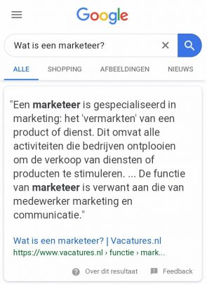 Featured snippet op mobiel