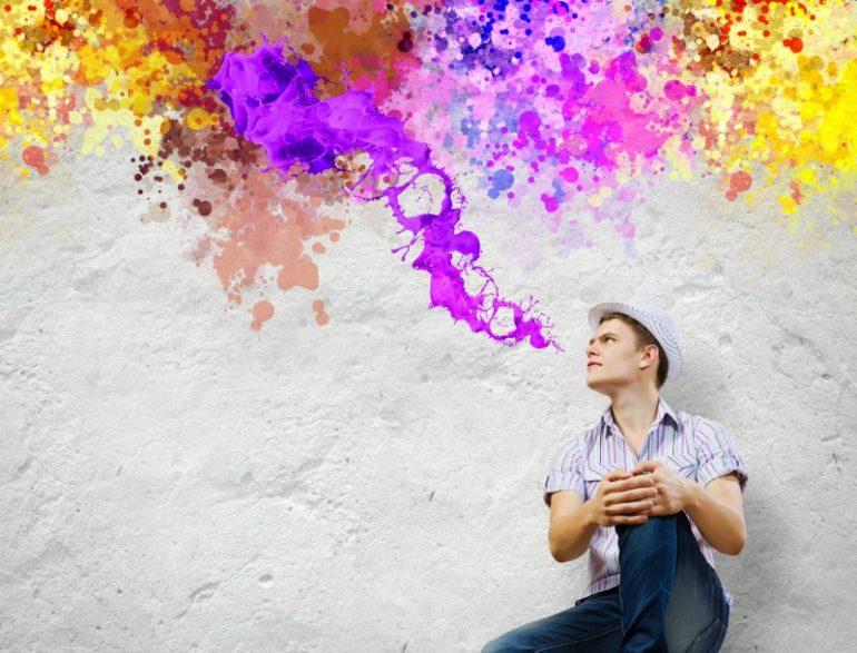 man kleur creatief