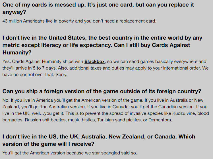 FAQ Cards against humanity