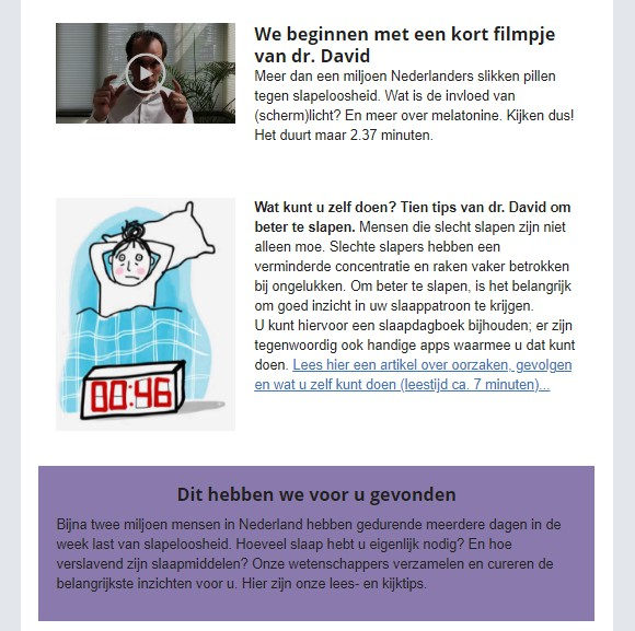 microlearning voorbeeld screenshot mail