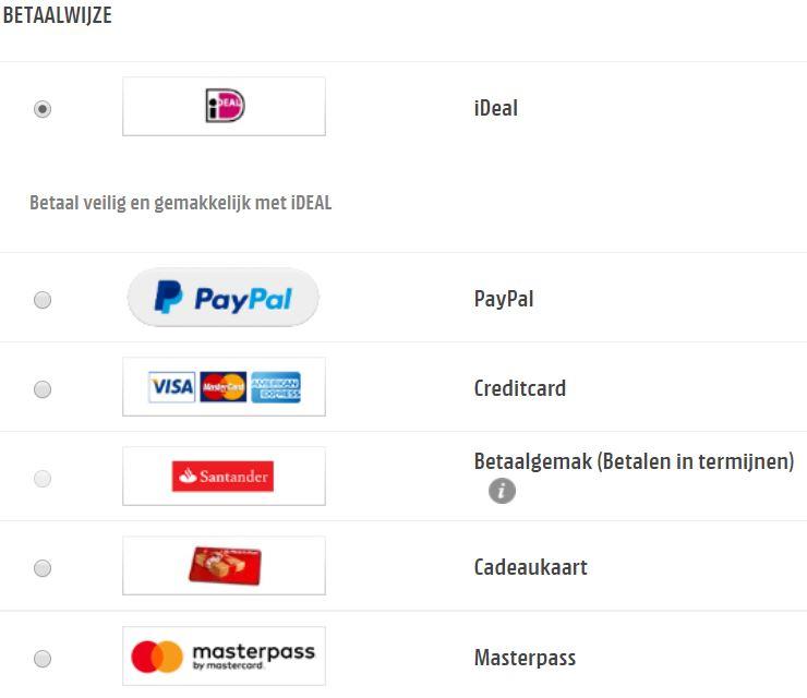 betaalwijze check-out betaaloplossing