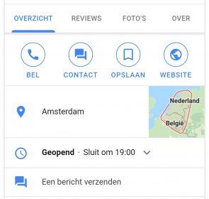 Contact-knop Google Mijn Bedrijf.