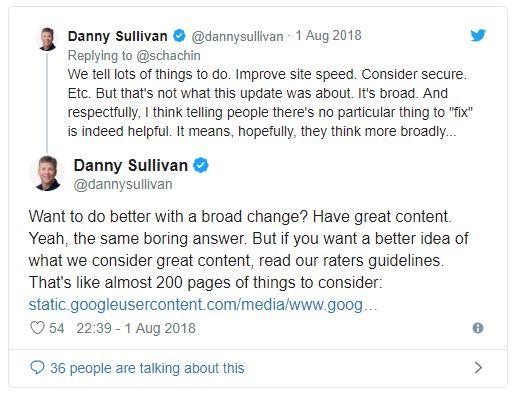 Tweet met referentie richtlijnen van Google