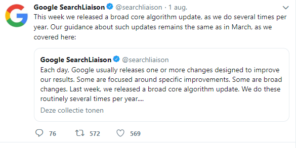 Google-tweet met reactie over update