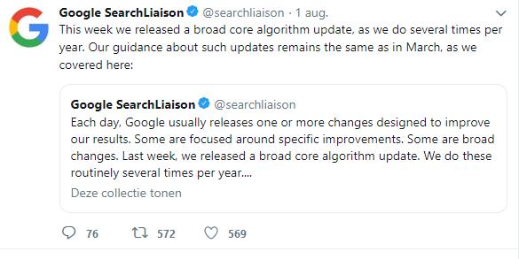 Google-tweet met reactie over update
