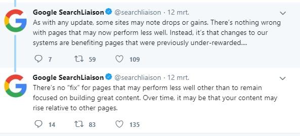 Google tweets met updates