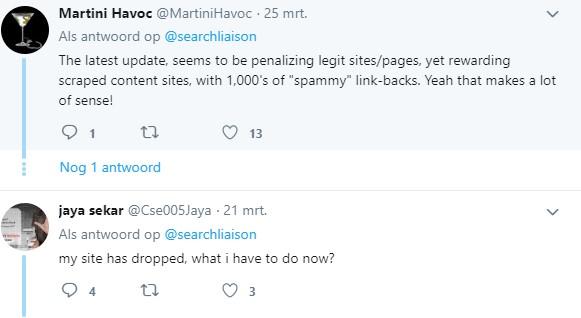 Tweets met frustratie rondom Google updates