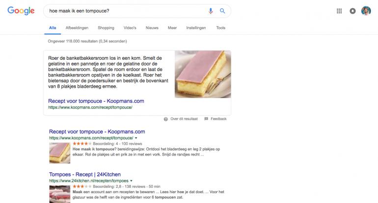 Google geeft het antwoord al