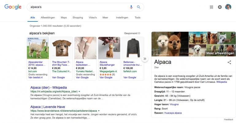 Adverteerders bij Google resultaten