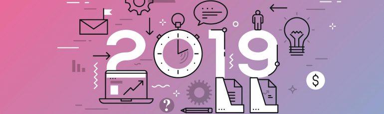 Afbeelding met de online trends van 2019.