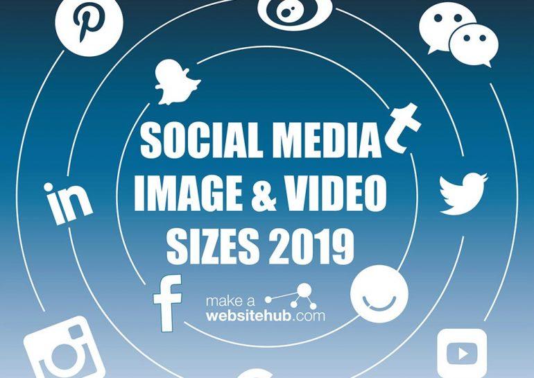 Afbeelding met de social media image- & video-afmetingen.