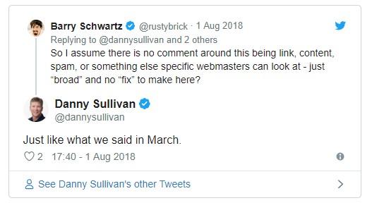 Tweets Google updates