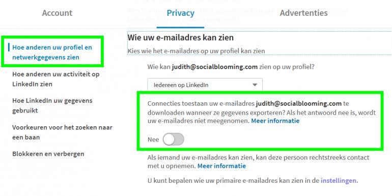 linkedin instellingen 2 privacy e-mailadres