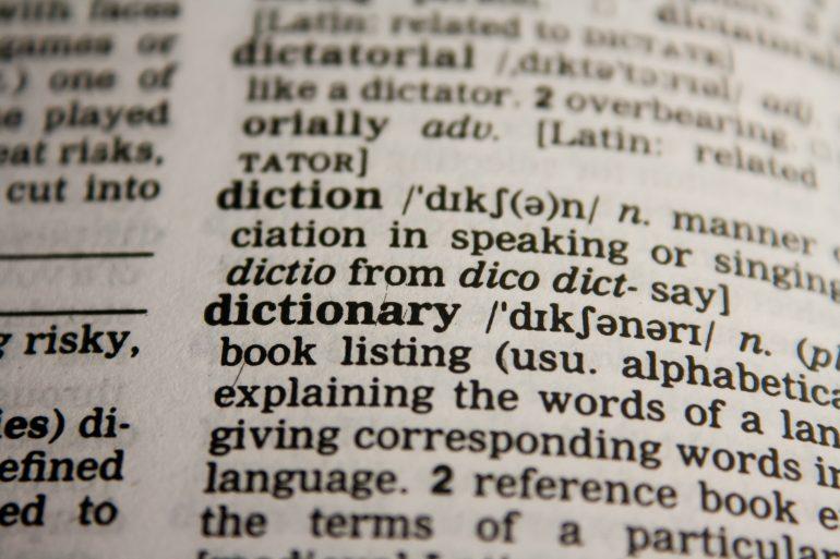 Foto van een Engels woordenboek