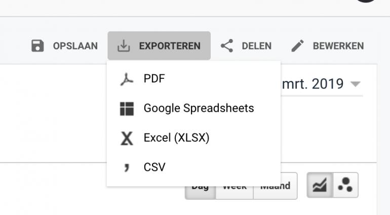 Exporteer data vanuit Google Analytics