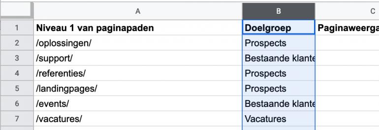 Maak een tabel in Spreadsheets of Excel