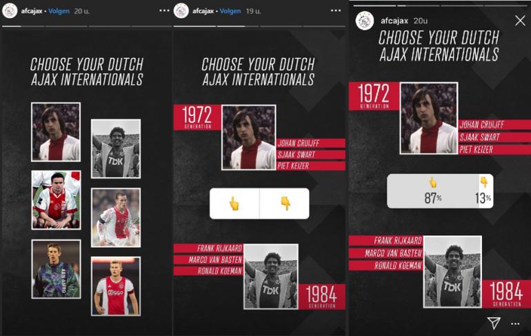 Instagram-story van Ajax