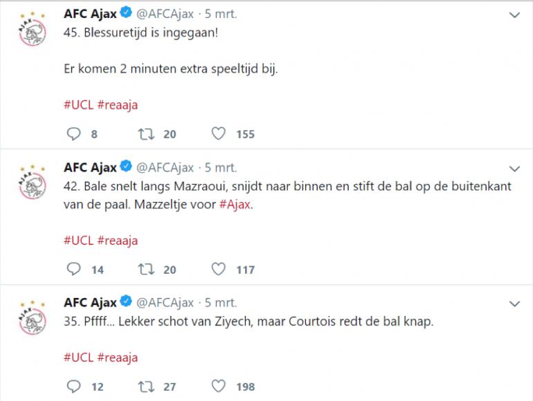 Liveblog tijdens de wedstrijd op het Twitter-kanaal van Ajax