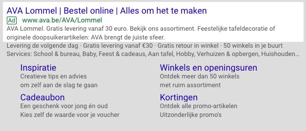 Screenshot van een uitgebreide Google Ads-campagne.