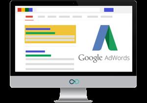 Illustratie van een laptop met daarop een Google Ads-campagne.
